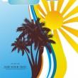 Vector Tropical background with palm tree, waves and sun — Stock Vector #38888319