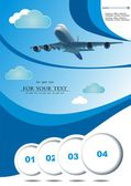 Vector illustration travel with plane before photos blue sky. — Stock Vector