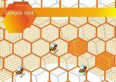 Vektor illustration vaxkakor och bin — Stockvektor