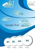 Vector illustration background cloud on blue. The network of design can be used on quality — Vettoriale Stock