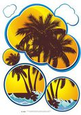 Vector background of tropical beach holiday. — Stockvector