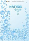 Vector illustration a water wave with bubbles — Stock Vector