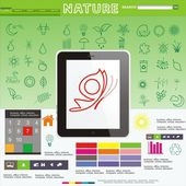 Green, the Ecology and a symbol of environment are established in a vector format a tablet a computer a web a site — Stock Vector