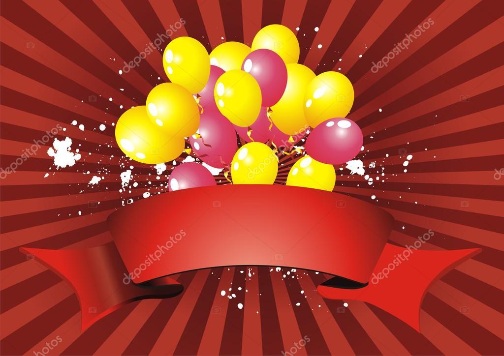 Vector ballonnen achtergrond met partij slingers en mooie confetti stockvector alex best - Behang grafisch ontwerp ...