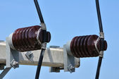 Power lines and insulators — Stock Photo
