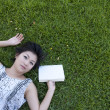 Young woman reading a book in the field — Stock Photo #12517412