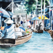 Original hand draw, Floating market — Stock Photo