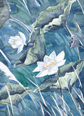 An original watercolor painting,lotus — Stock Photo