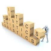 Cardboard boxes on white background 3d illustration — Stock Photo