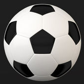 Leather soccer ball isolated on black with clipping path — Stock Photo
