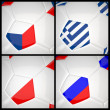 International flag on 3d football — Stock Photo