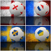 International flag on 3d football — 图库照片