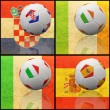 Foto Stock: International flag on 3d football