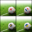 International flag on 3d football — Stock fotografie