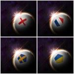 International flag on 3d football — Stock Photo #13624639