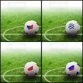International flag on 3d football — Stock Photo
