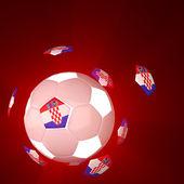 Flaga chorwacji na 3d piłkarski — Zdjęcie stockowe