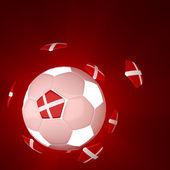 Denmark glag on 3d Football — Stock Photo