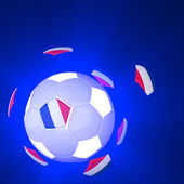France flag on 3d football — Stok fotoğraf