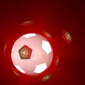 Bandiera del portogallo sul calcio 3d — Foto Stock