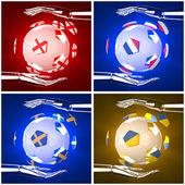 Internationale flagge auf 3d fußball — Stockfoto