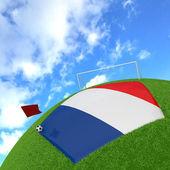 Vlajka francie na 3d fotbal — Stock fotografie