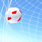 3d rendering of a Greece flag on soccer ball in a net — Stock Photo