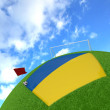 Ukraine flag on 3d football - Stock Photo