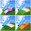 International flag on 3d football — Stock Photo #13718765