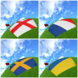 International flag on 3d football — Stock Photo #13718775
