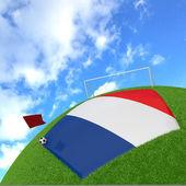France flag on 3d football — Stock Photo