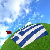 3 d のサッカーにギリシャの国旗 — ストック写真