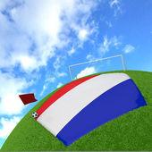 Nizozemsko vlajka na 3d fotbal — Stock fotografie