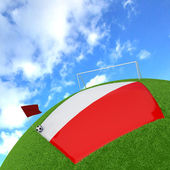 Poland flag on 3d football — Stock Photo