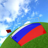 Russia flag on 3d football — Stock Photo