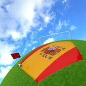Vlajka španělsko na 3d fotbal — Stock fotografie