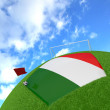 Italy flag on 3d football — Stock Photo