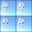 International flag on 3d football — ストック写真