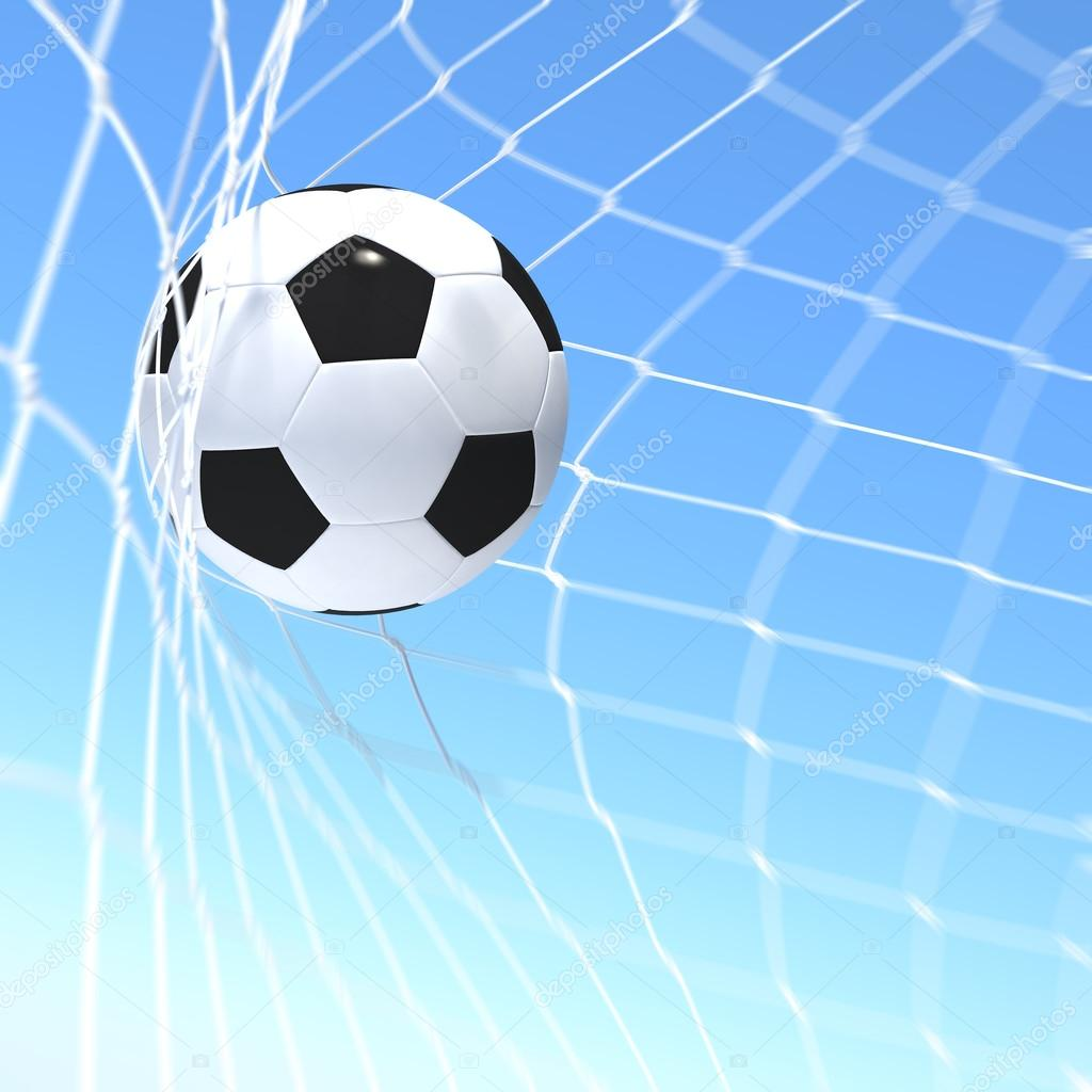 3d rendering of a XXX flag on soccer ball in a net — Stock Photo #13721160