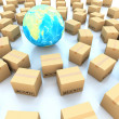 Cardboard boxes and global on white background 3d illustration — Stock Photo #17180303