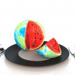 Watermelon in global 3d illustration — Lizenzfreies Foto