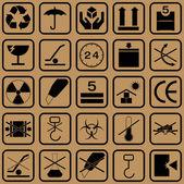 Black fragile symbol on cardboard — Stock Photo