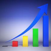 Gráfico 3d muestra aumento en ganancias — Foto de Stock