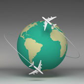 3d Planes flying around the globe — Stock Photo