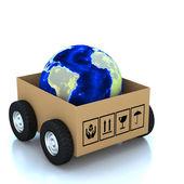 3d globe in Cardboard boxes — Stock Photo