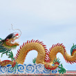 Dragon statue on china temple roof — Stock Photo