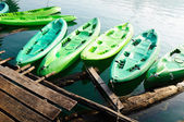 Kayaks in lake on Ratchaprapa Dam,Khao Sok,Thailand — Stock Photo