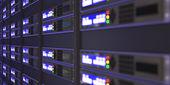 Komputer serwery renderowania 3d — Zdjęcie stockowe