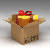 Gift box in cardboard boxes 3d illustration — Stock Photo