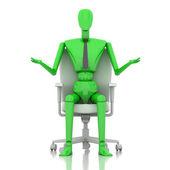 3d green businessman doll — Stock Photo